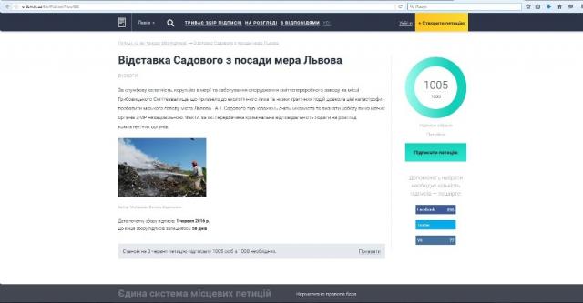 Петиція щодо відставки Садового набрала необхідну кількість голосів фото