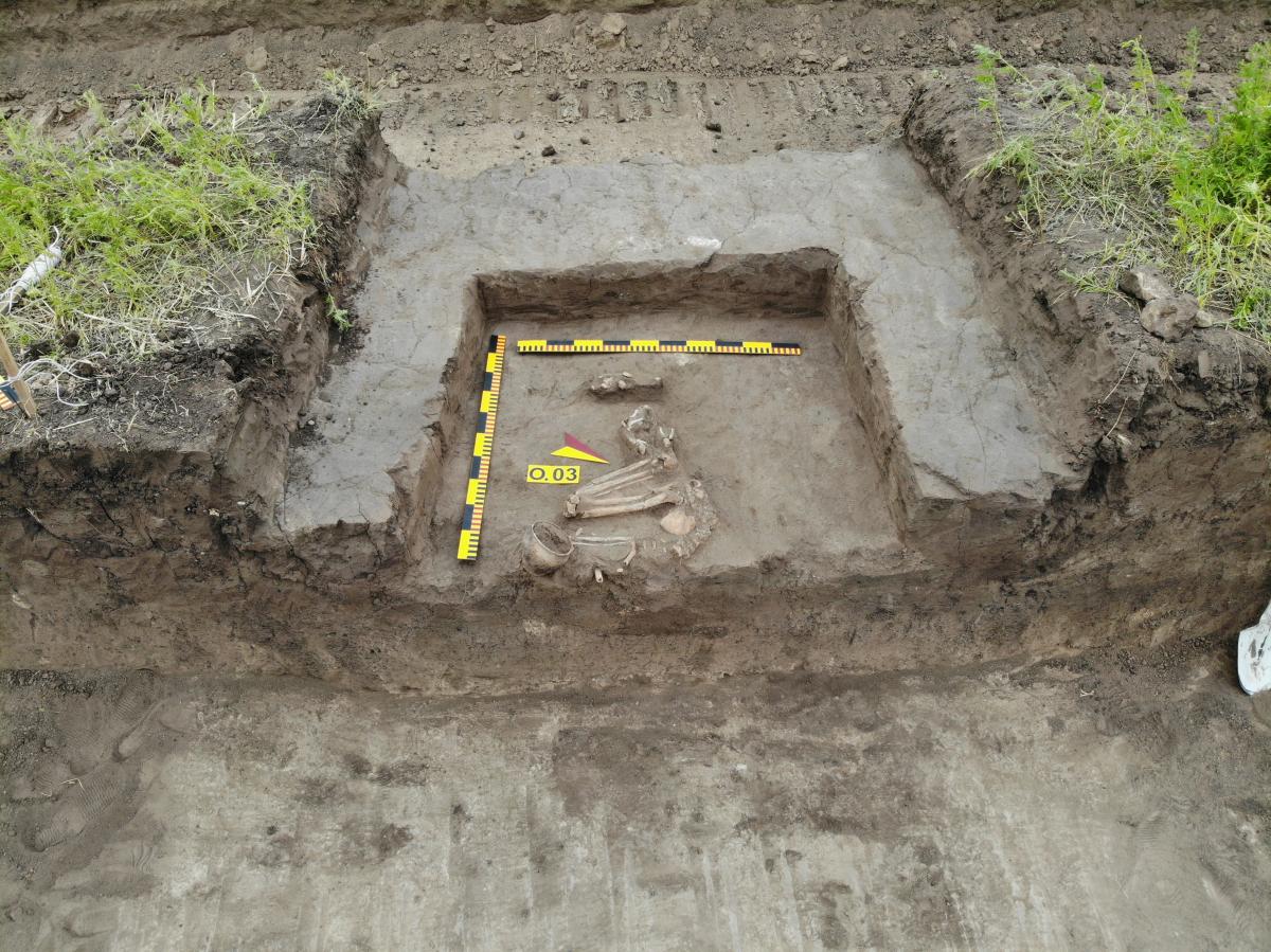 Впускне поховання зрубної культури (сер. ІІ тис. до н.е.). Фото - РАС.