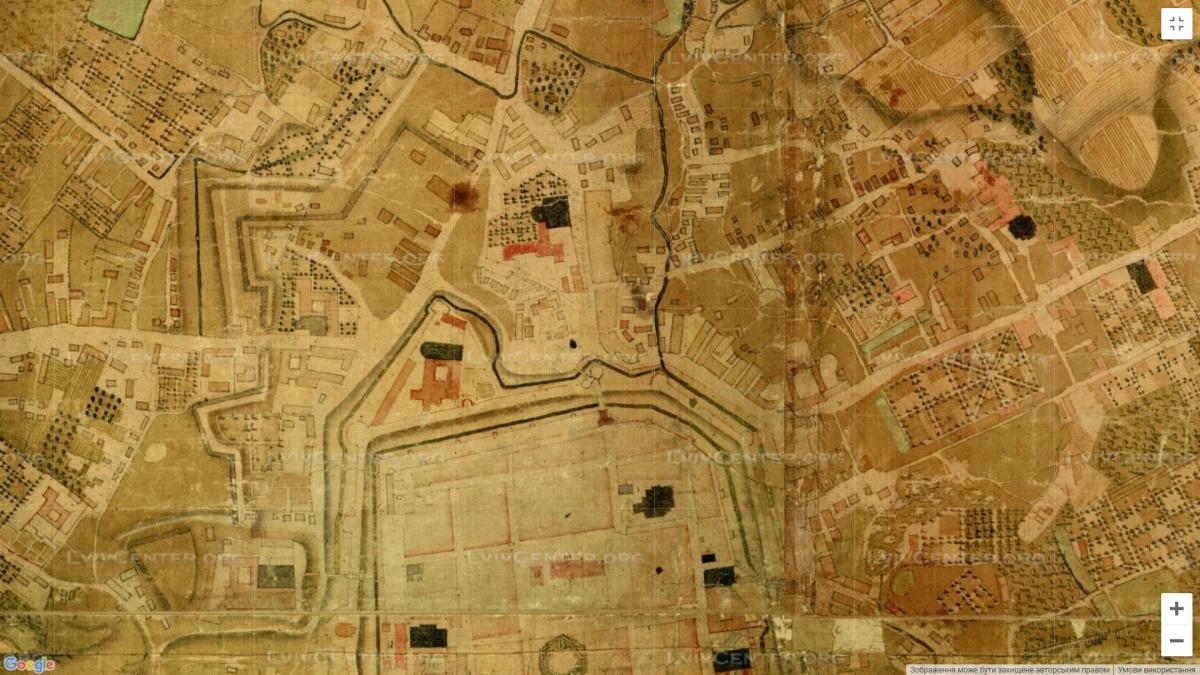 Частина Галицького передмістя на мапі Ду Дефіє 1766 року (каплиця Воздвиження Чесного Хреста навпроти Галицької брами). Мапа взята з сайту lvivcenter.org.