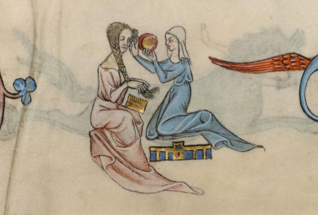Служниця розчісує волосся своєї пані, тримаючи люстерко, 1320-1340, Латтреллівський псалтир, British Library MS. Add. 42130, fol. 63r. Фото - Symbolon.