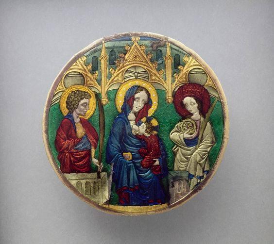 Люстерко Людовіка Анжуйського, 1370-1379 рр. Богородиця з Дитям між Св. Іоанном та Св. Катериною Александрійською, Лувр, Париж. Фото - Symbolon.