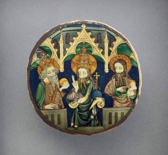 Люстерко Людовіка Анжуйського, 1370-1379 рр. Бог-Отець між Карлом Великим та Іоанном Хрестителем, Лувр, Париж. Фото - Symbolon.