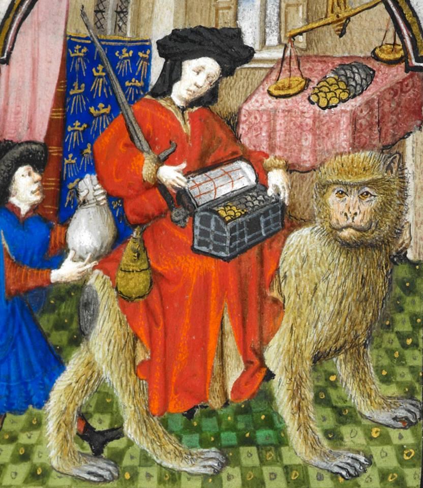 Вершник на мавпі як втілення жадібності. 'The Dunois Hours', Париж, приблизно 1440 – 1450 рр. British Library, Yates Thompson 3, fol. 174r. Фото - Symbolon.