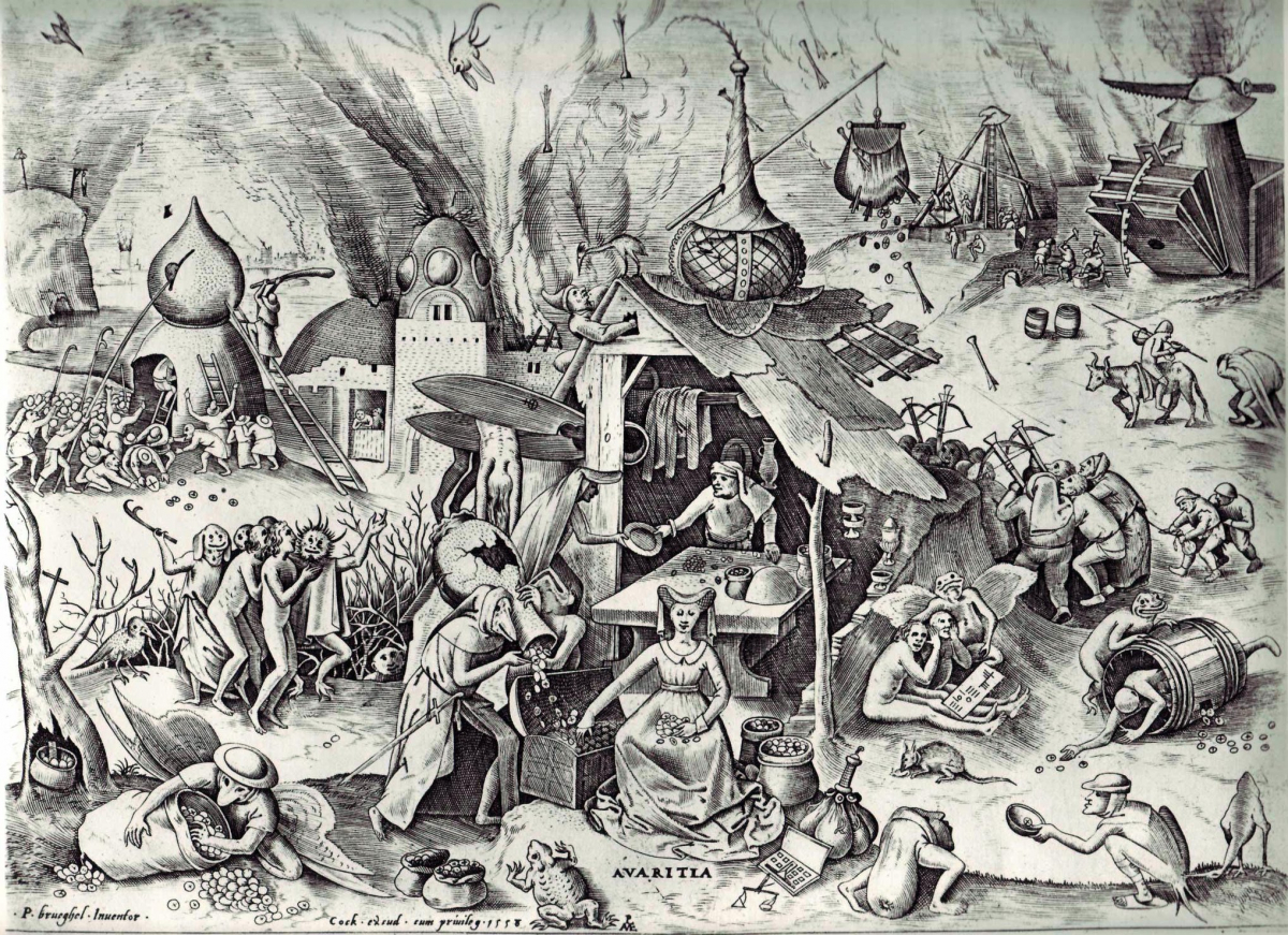 Пітер Брейгель Старший (гравер Пітер ван дер Хейден). Сім смертних гріхів – Жадібність. Гроші, скриня, торби, жаба, демоноподібні створіння – усі ці атрибути навіть без підпису роблять зображення зрозумілим для глядача. 1557 – 1556 рр. Фото - Symbolon.
