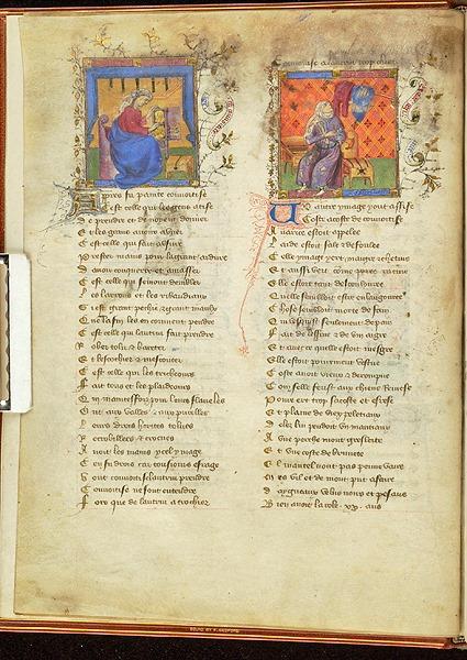 У «Романі про Троянду» є фігури Жадібності і Скупості, які зображено поряд. Друга фігура, крім скрині, має в якості впізнаваної риси жалюгідний зношений одяг. «Roman de la Rose», Франція, приблизно 1405 р. MS M.245 fol. 2v. Фото - Symbolon.