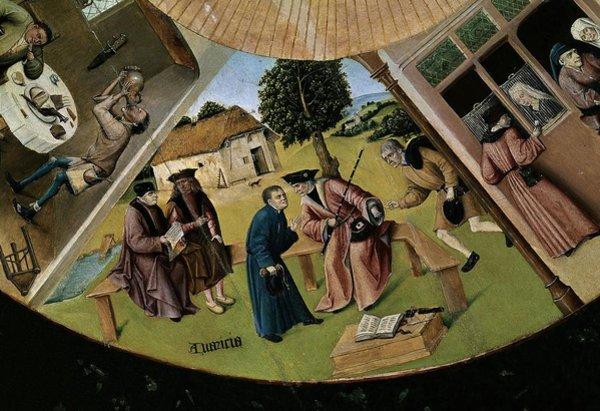 Ієронім Босх та майстерня. Сім смертних гріхів і чотири останні речі. Фрагмент. Уособлення жадібності бере участь у побутовій сцені. 1480-ті рр. Прадо, Мадрид. Фото - Symbolon.