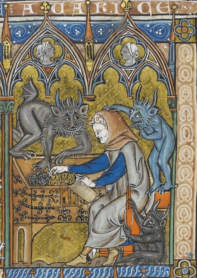 Мініатюра з морального компендіуму «Somme le Roi». Жадібність ощадливо складає гроші, демони допомагають. Приблизно 1290 – 1300 рр., Франція. Add MS 28162. Фото - Symbolon.