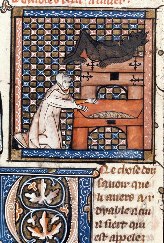 Демон вмостився на скрині жадібного. Деталь мініатюри. «Somme le roi», Франція, друга половина XIV ст. BL Royal 19 C II. Фото - Symbolon.