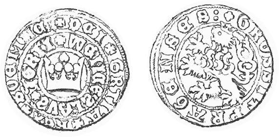 Празький грош Вацлава IV Люксембурга (1378-1419), 2,7-2,9 г, частка срібла в сплаві 61,6 – 63,0 % Фото - Symbolon.