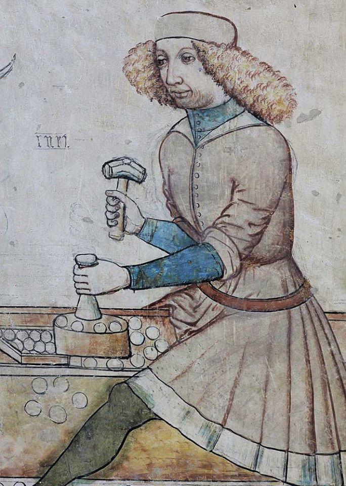 Карбування монет, фрагмент фрески у Монетній каплиці в соборі Св. Варвари, Кутна Гора, бл. 1460 р Фото - Symbolon.