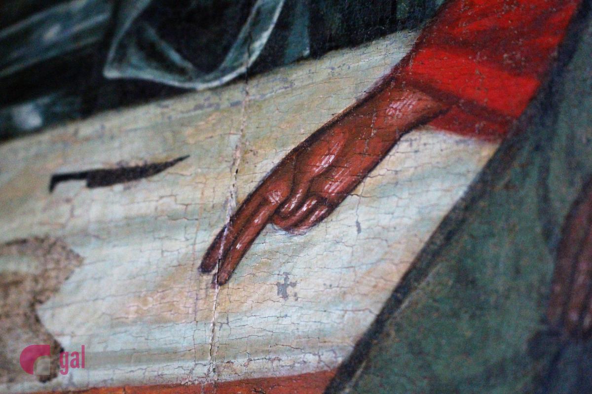 Благословляючий жест. Старозавітня Трійця. Початок ХVІ ст. Походження невідоме. Дошка липова і соснова, левкас, темпера, гравіювання, золочення. Фото: Олена Ляхович, Гал-інфо
